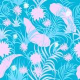 Τροπικό άνευ ραφής σχέδιο φύλλων και λουλουδιών, διάνυσμα Στοκ εικόνες με δικαίωμα ελεύθερης χρήσης