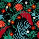Τροπικό άνευ ραφής σχέδιο φύλλων και λουλουδιών, διάνυσμα Στοκ Εικόνα