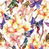Τροπικό άνευ ραφής σχέδιο με τα εξωτικά λουλούδια Στοκ Φωτογραφία