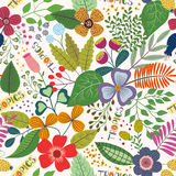 Τροπικό άνευ ραφής σχέδιο με τα φύλλα και τα λουλούδια Στοκ φωτογραφίες με δικαίωμα ελεύθερης χρήσης