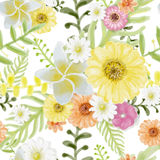 Τροπικό άνευ ραφής ύφος ζωγραφικής Watercolor σχεδίων λουλουδιών στο W ελεύθερη απεικόνιση δικαιώματος