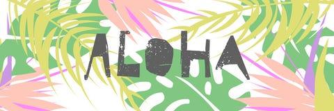 Τροπικό έμβλημα σχεδίων κολάζ στο της Χαβάης ύφος ελεύθερη απεικόνιση δικαιώματος