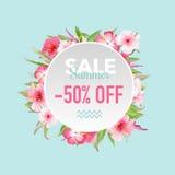 Τροπικό έμβλημα λουλουδιών θερινής πώλησης, για την αφίσα έκπτωσης, πώληση μόδας, προσφορά αγοράς ελεύθερη απεικόνιση δικαιώματος