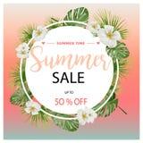 Τροπικό έμβλημα λουλουδιών θερινής πώλησης, για την αφίσα έκπτωσης, πώληση μόδας, υπόβαθρα, μπλούζες, μαξιλάρια, στο διάνυσμα Διανυσματική απεικόνιση