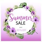 Τροπικό έμβλημα λουλουδιών θερινής πώλησης, για την αφίσα έκπτωσης, πώληση μόδας, υπόβαθρα, μπλούζες, μαξιλάρια, στο διάνυσμα Ελεύθερη απεικόνιση δικαιώματος