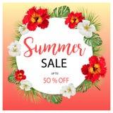 Τροπικό έμβλημα λουλουδιών θερινής πώλησης, για την αφίσα έκπτωσης, πώληση μόδας, υπόβαθρα, μπλούζες, μαξιλάρια, στο διάνυσμα Απεικόνιση αποθεμάτων