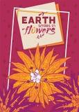 τροπικό διάνυσμα απεικόνισης λουλουδιών Έμβλημα θερινού σχεδίου, αφίσα, φυλλάδιο, ιπτάμενο Γήινα χαμόγελα στο υπόβαθρο λουλουδιών στοκ εικόνες