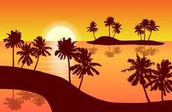 Τροπικό διάνυσμα τοπίων νησιών με τους φοίνικες στο πορτοκάλι sunse απεικόνιση αποθεμάτων