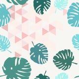 Τροπικό διανυσματικό σχέδιο κεραμιδιών με τα πράσινα εξωτικά φύλλα στο γκρίζο και ρόδινο υπόβαθρο τριγώνων Στοκ εικόνες με δικαίωμα ελεύθερης χρήσης
