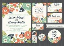 Τροπικό εκλεκτής ποιότητας σχέδιο γαμήλιας πρόσκλησης λουλουδιών Στοκ Φωτογραφίες