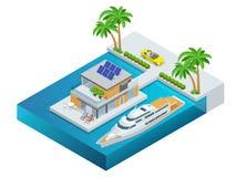 Τροπικό θέρετρο ξενοδοχείων πολυτέλειας με το φοίνικα, το καμπριολέ, το γιοτ και τη θάλασσα Προορισμός και παραθαλάσσιο θέρετρο θ απεικόνιση αποθεμάτων