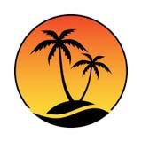 Τροπικό νησί λογότυπων Σύμβολο θερέτρου απεικόνιση αποθεμάτων