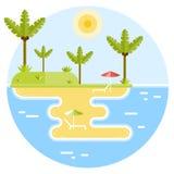 Τροπικό νησί με την παραλία τελών φοινίκων Ελεύθερη απεικόνιση δικαιώματος