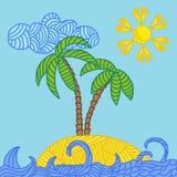 Τροπικό νησί με τους φοίνικες και τα κύματα Στοκ εικόνες με δικαίωμα ελεύθερης χρήσης