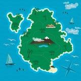 Τροπικό νησί στην μπλε θάλασσα διάνυσμα ελεύθερη απεικόνιση δικαιώματος