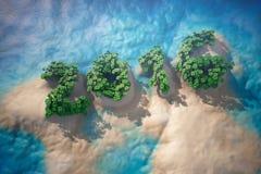 Τροπικό νησί στον ωκεανό με τα δέντρα ως σημάδι έτους του 2016 Στοκ Φωτογραφία