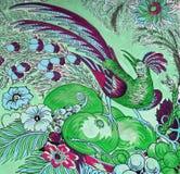 Τροπικό πουλί με τα φρούτα και τα λουλούδια Στοκ φωτογραφία με δικαίωμα ελεύθερης χρήσης