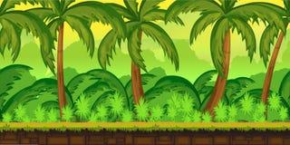 Τροπικό τοπίο ζουγκλών για το παιχνίδι UI Στοκ Εικόνα