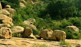 Τροπικό τοπίο λόφων του sittanavasal ναού σπηλιών σύνθετου στοκ φωτογραφίες με δικαίωμα ελεύθερης χρήσης