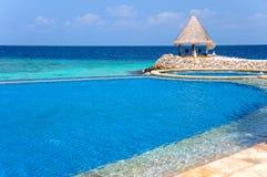 Τροπικό τοπίο με τη infinitty πισίνα παραλιών στοκ φωτογραφία