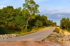 Τροπικό τοπίο με τον κενό δρόμο και την πράσινη άκρη του δρόμου Στοκ Εικόνες