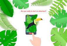 Τροπικό υπόβαθρο εγγράφου παραδείσου με τα φύλλα και τα εξωτικά πουλιά στο κινητά τηλέφωνο και το χέρι Το Toucan κοιτάζει έξω πέρ Στοκ εικόνες με δικαίωμα ελεύθερης χρήσης
