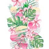 Τροπικό υπόβαθρο λουλουδιών, κλάδων και φύλλων Watercolor - αφηρημένο άνευ ραφής τροπικό φυτό σχεδίων διανυσματική απεικόνιση