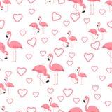 Τροπικό υπόβαθρο φλαμίγκο πουλιών - άνευ ραφής διάνυσμα σχεδίων διανυσματική απεικόνιση