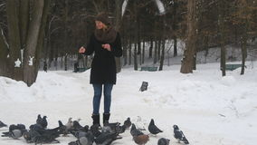Τροφή νέων κοριτσιών τα πουλιά στο χειμερινό πάρκο Τα περιστέρια τρώνε τους σπόρους κατόπιν πετούν μακριά φιλμ μικρού μήκους