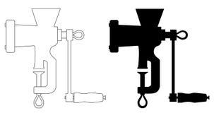 Τροφοδοτημένη χέρι μονοχρωματική κομματιάζοντας μηχανή μηχανή κοπής κιμά χεριών κουζινών εικονιδίων κρεατομηχανών Στοκ εικόνα με δικαίωμα ελεύθερης χρήσης
