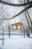 Τροφοδότης για τα πουλιά στο χειμερινό δάσος Στοκ φωτογραφίες με δικαίωμα ελεύθερης χρήσης