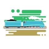 Τροφοδοτημένη ατμός κινητήρια διανυσματική απεικόνιση Εκλεκτής ποιότητας αναδρομικό τραίνο Παλαιό παλαιό επίπεδο σχέδιο μηχανημάτ Στοκ Εικόνα