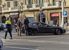 Τροχαίο ατύχημα Maserati στη Βαρκελώνη Στοκ Εικόνα