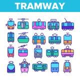 Τροχιοδρομική γραμμή, λεπτά εικονίδια γραμμών αστικών μεταφορών καθορισμένα διανυσματική απεικόνιση