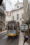 Τροχιοδρομική γραμμή της Λισσαβώνας, Πορτογαλία Στοκ εικόνα με δικαίωμα ελεύθερης χρήσης