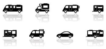 Τροχόσπιτο ή camper van icons σύνολο Στοκ φωτογραφία με δικαίωμα ελεύθερης χρήσης