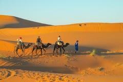 Τροχόσπιτο καμηλών τουριστών στους αμμόλοφους ερήμων άμμου της Αφρικής Στοκ Φωτογραφία