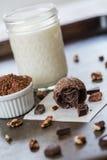 Τρούφα σοκολάτας και κομμάτια και πεκάν σοκολάτας Στοκ Εικόνες