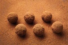 Τρούφα σοκολάτας, καραμέλες σοκολάτας τρουφών με τη σκόνη κακάου Σπιτικές φρέσκες ενεργειακές σφαίρες με τη σοκολάτα Γαστρονομικέ Στοκ φωτογραφίες με δικαίωμα ελεύθερης χρήσης