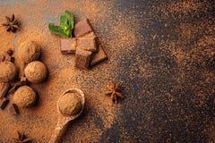 Τρούφα σοκολάτας, καραμέλες σοκολάτας τρουφών με τη σκόνη κακάου Ho Στοκ φωτογραφία με δικαίωμα ελεύθερης χρήσης