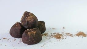 Τρούφες σοκολάτας που απομονώνονται στο άσπρο υπόβαθρο απόθεμα βίντεο