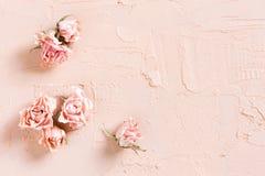 Τρυφερό κατασκευασμένο ρόδινο υπόβαθρο με τα ξηρά τριαντάφυλλα Στοκ φωτογραφία με δικαίωμα ελεύθερης χρήσης