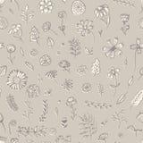 Τρυφερό μπεζ floral σχέδιο με τα λουλούδια και τους κλαδίσκους ελεύθερη απεικόνιση δικαιώματος