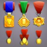 Τρόπαιο και μετάλλια καθορισμένα διανυσματική απεικόνιση