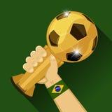 Τρόπαιο ποδοσφαίρου για τη Βραζιλία απεικόνιση αποθεμάτων