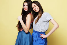 Τρόπος ζωής και έννοια ανθρώπων: Δύο φίλοι νέων κοριτσιών που στέκονται Στοκ φωτογραφία με δικαίωμα ελεύθερης χρήσης