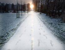 Τρόπος με το χιόνι Στοκ Εικόνες