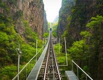 Τρόπος τραμ να οξύνει του βουνού Huangshan, Anhui, Κίνα Στοκ Φωτογραφίες