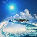 τρόπος ύδατος Πετώντας νησί Στοκ Εικόνες