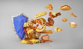 τρόφιμα έννοιας υγιή Επίθεση των ανθυγειινών τροφίμων ελεύθερη απεικόνιση δικαιώματος